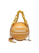 Acrylic Chain Handle Basketball Design Round Crossbody Bags