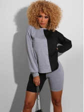 Casual Contrast Color Long Sleeve Two Piece Sets