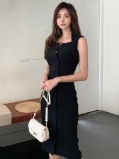 Simple Pure Color Sleeveless Black Dress