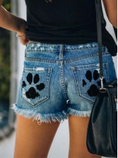 Raged Hem Holes Ladies Denim Shorts