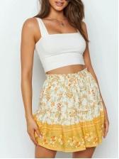 Stylish Stringy Selvedge Printed High Waisted Skirt