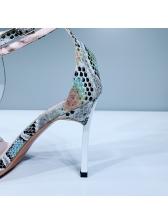 Pointed Toe Snake Skin Printed Ladies Sandal