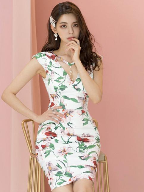 Graceful v Neck Botanic Printed Ladies Dress