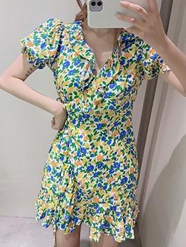 Puff Sleeve Print Wrap Dress For Summer