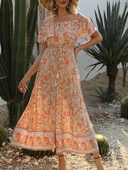 Off Shoulder Printed Ruffled Midi Dress
