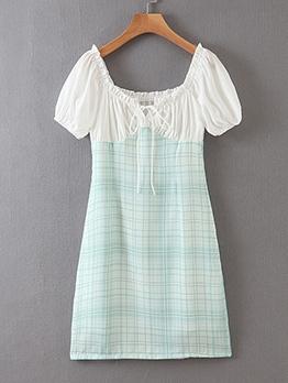 Empire Waisted Patchwork Plaid Short Sleeve Dress