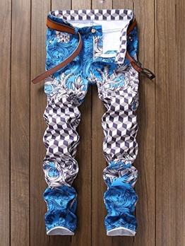 Fashion Plaid Printed Straight Denim Jeans