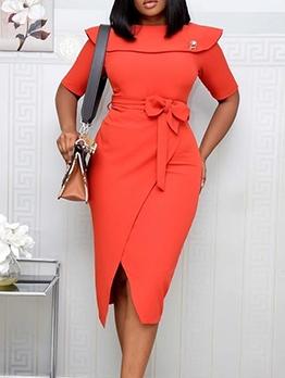 OL Style Solid Short Sleeve Formal Dress