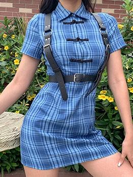 Vintage Plaid Button Up Blue Short Sleeve Dress