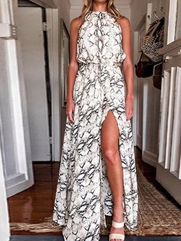 Bohemian Snake Skin Printed Slit Maxi Dresses