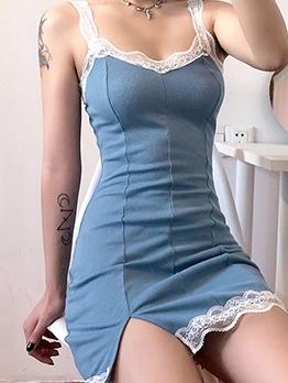 Lace Edges Split Hem Sleeveless Bodycon Dress