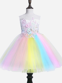 Iridescent Color Sleeveless Flower Dress For Girls