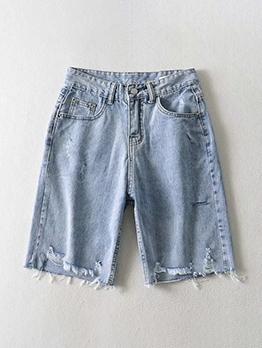 Hot Sale High Waist Half Length Ripped Short Jeans