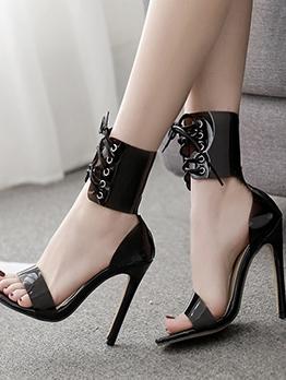 Roman Style Lace Up Heel Sandal