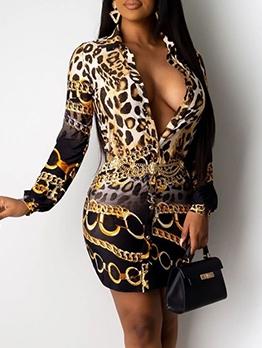 Chains Print Long Sleeve Shirt Dress For Women