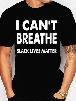 Letter Crew Neck Short Sleeve Cheap Black T Shirt