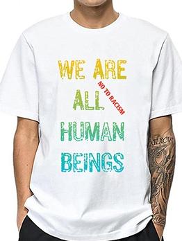 Gradient Color Letter Crew Neck Cheap T Shirts