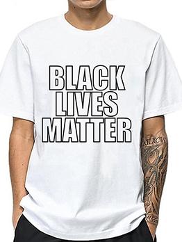 Black Lives Matter Print White T Shirt