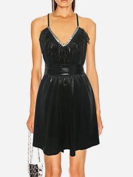 Rhinestone Feather Patchwork Summer Dresses