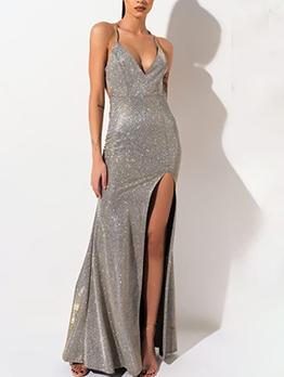 Sexy High Slit Glitter Evening Wear
