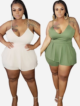 Solid V Neck Spaghetti Strap Plus Size Rompers
