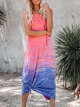 Graduated Color Sleeveless Tank Maxi Dress