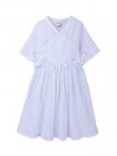 Smart Waist Solid Short Sleeve Casual Dress For Girls