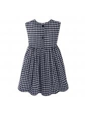 Summer Sleeveless Plaid Girls Dress Casual