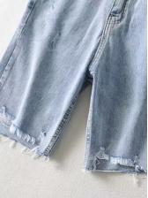 High Waist Half Length Ripped Short Jeans