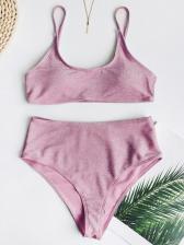 Pure Color High Waist Bikini Set For Women