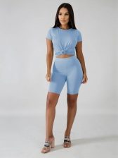 Skinny Casual Pure Color Two Piece Short Set