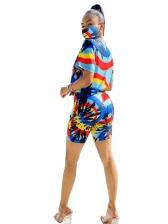 Contrast Color Mock Neck Summer Two Piece Shorts Set