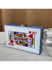 Unique Design Poker Box Shape Chain Crossbody Bags