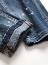 Fashion Badge Applique Painted Denim Jeans