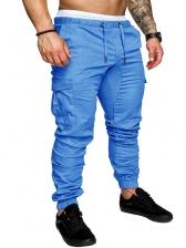 Pure Color Drawstring Casual Pants