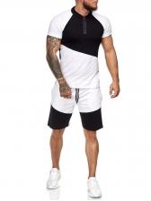 Contrast Color Short Sleeve Sport T Shirt