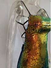 Sexy Sequins Backless Mini Ladies Dress