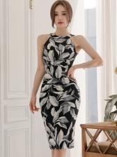 Sexy Sleeveless Floral Print Women Butt-hugging Dresses