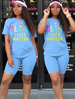 Crew Neck Letter Print Short Sleeve Two Piece Outfits