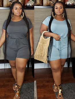Short Sleeve Solid Color Plus Size Casual Rompers