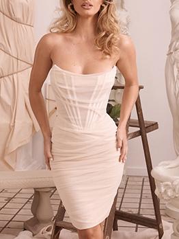 Chic Design Gauze Strapless Bodycon Dress