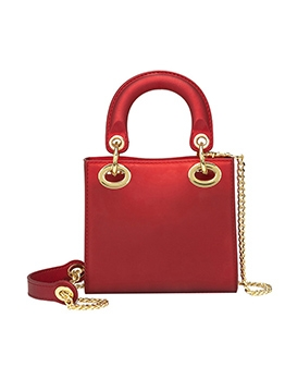 Solid Color Square Design Small Handbags With Chain