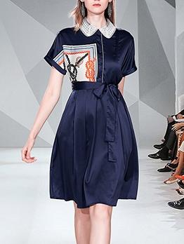 Fresh Style Tie-Wrap Knee Length Print Shirt Dress