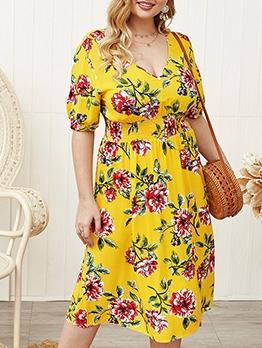 Loose v Neck Flower Printed Plus Size Dresses