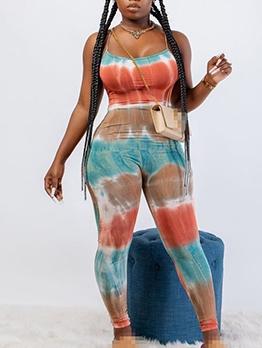 Multicolored Tie Dye Spaghetti Strap Skinny Jumpsuit