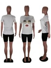 Funny Print Short Sleeve T-Shirt Casual