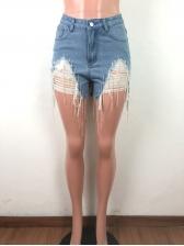Tassel Bottom Light Blue Ripped Denim Shorts