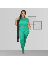 Plus Size Fitted Solid Color Tee With Stacked Pants
