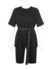 Minimalist Style Solid Color Loungewear Tracksuit Set