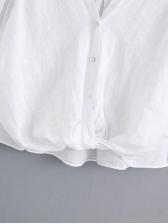 V Neck Plain White Female Long Sleeve Shirts